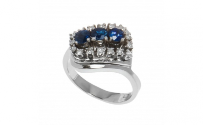 Inel din aur 14K cu safire si diamante