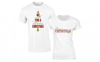 Set de tricouri albe Merry Christmas