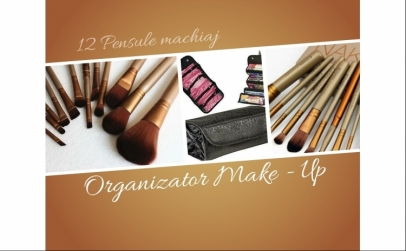 Pensule machiaj + Organizator make-up