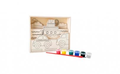 Tablouri de colorat din lemn Vaporase si