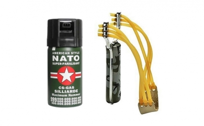 Prastie + Spray cu piper lacrimogen