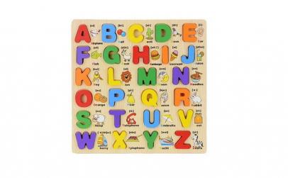 Puzzle lemn 3D cu alfabet