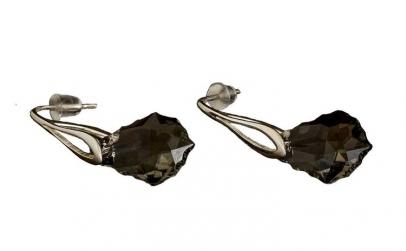 Cercei Baroque, Jet, Argint 925,