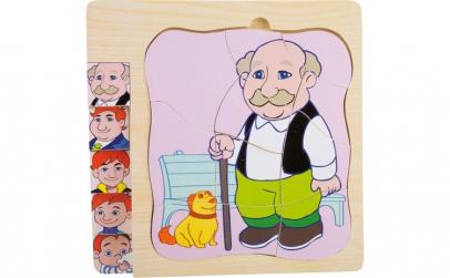 Puzzle din lemn viata bunicului