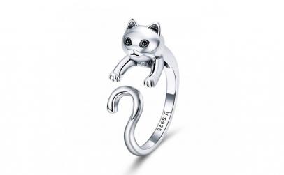Inel reglabil argint 925 cu pisicuta