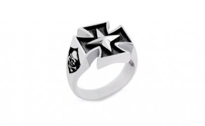 Inel argint 925 cruce malteza si Jolly