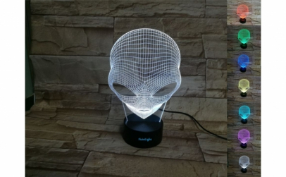 Lampa 3D LED, Alien, 7 culori, USB