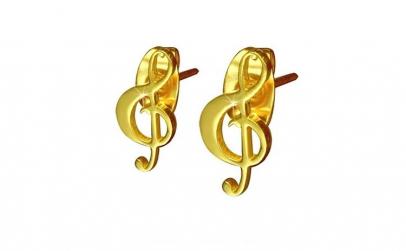 Cercei aurii din inox cu note muzicale