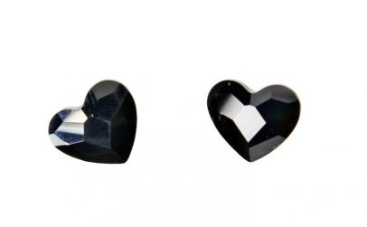 Cercei Heart, Jet, Argint 925, 10mm