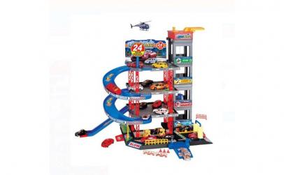 Set garaj auto cu 4 masinute + elicopter