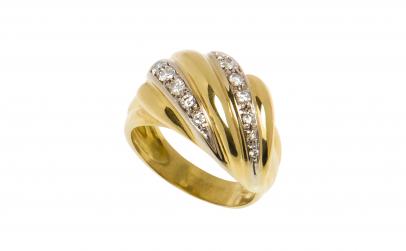 Inel turban din aur 18K cu diamante