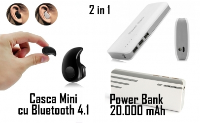 Baterie externa 20.000 mAh + Casca