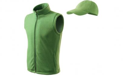 Vesta fleece + sapca, culoare verde
