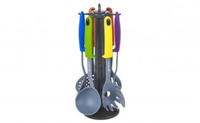 Set 7 ustensile cu suport rotativ