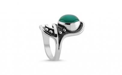 Inel argint 925 cu piatra agat verde