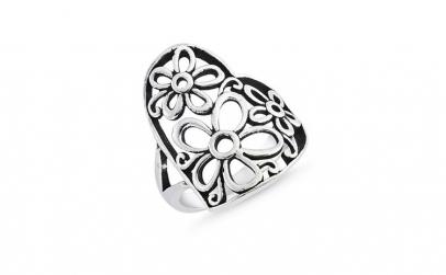 Inel argint 925 inimioara cu floricele