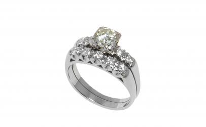 Inel din aur alb 14K diamante