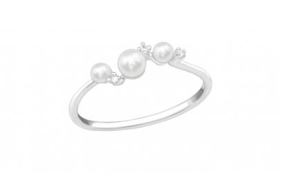 Inel argint,  Perla cu cristale din
