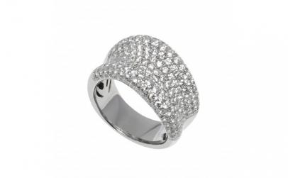 Inel din aur alb 18K, cu 190 diamante