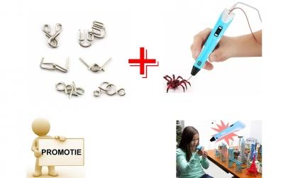 Creion 3D + puzzle metalic