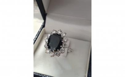 Inel aur alb18K cu safir si diamante