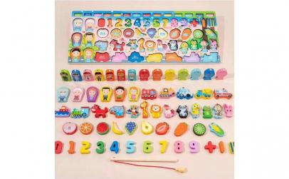 Joc Montessori 7 in 1, cu cifre, fructe