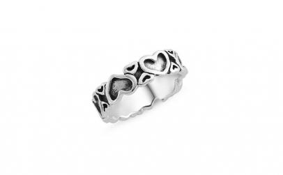 Inel argint 925 cu inimioare si aspect