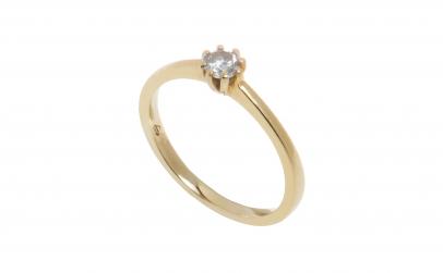 Inel solitar, aur galben 18K, cu diamant