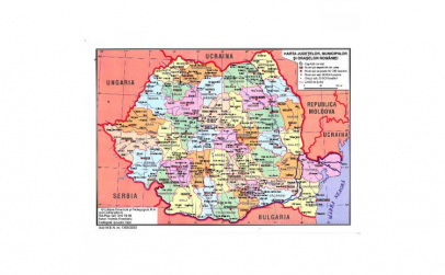 Harta Fizica a Romaniei + Harta