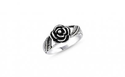 Inel argint 925 cu trandafir si aspect