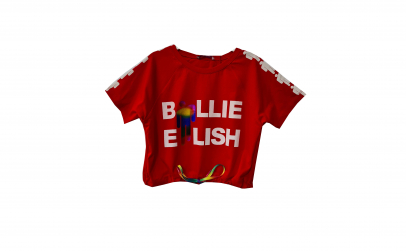 Tricou scurt rosu Billie Eilish