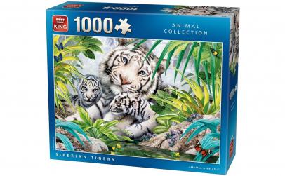 Puzzle 1000 piese Tigru siberian cu pui