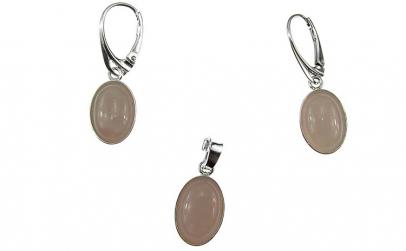 Set argint cuart roz oval 14x10 MM
