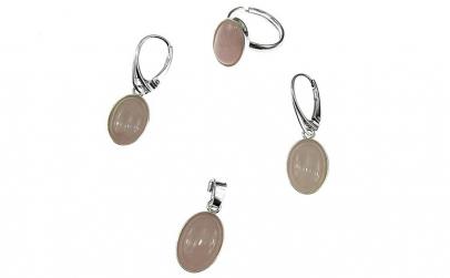 Set argint complet cuart roz oval 14x10