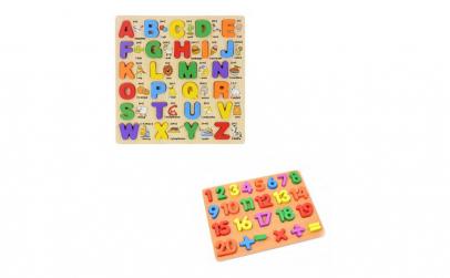 Pachet puzzle alfabetic lemn si puzzle
