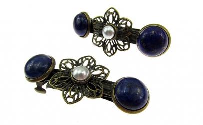 Set clame de par cu lapis lazuli si
