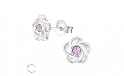 Cercei argint, Floare  cu cristale
