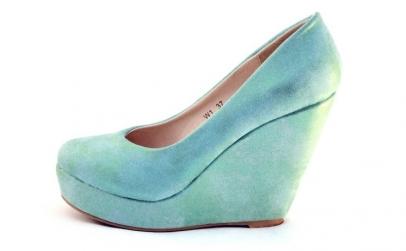 Pantofi dama turcoaz cu platforma -
