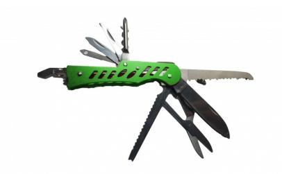 Briceag metalic verde cu 11 functii