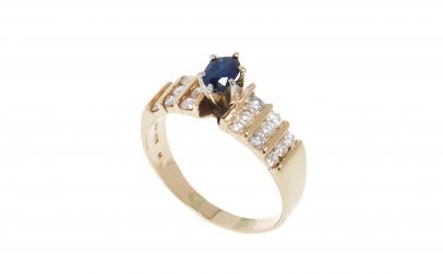 Inel din aur 14K cu safir, 18 diamante