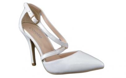 Pantofi dama albi Stiletto - toc 10 cm,