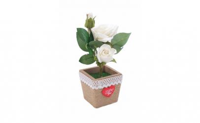 Trandafir artificial in ghiveci, alb, 28