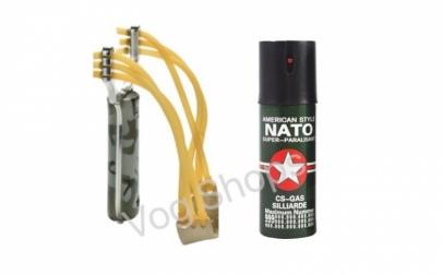 Prastie + Spray Nato lacrimogen cu piper