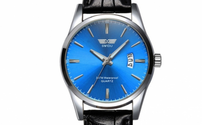 Ceas Barbatesc Swidu Deep Blue Leather