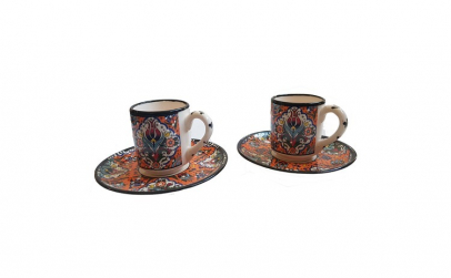 Set cafea turceasca, pictat manual,