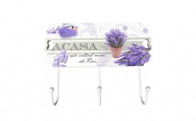 Cuier decorat cu flori,  3 agatatori,