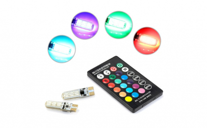 Leduri T10 w5w  RGB multicolore cu