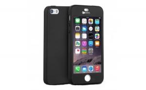 Husa Apple iPhone 5/5S/SE Flippy Full Cover 360 Negru + Folie de protectie
