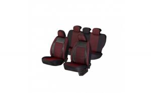 Huse scaune auto SEAT LEON  1999-2010  dAL Elegance Rosu,Piele ecologica + Textil