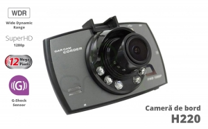 Camera Video Auto H220, SuperHD 1296P, 12MP, WDR, 60Fps + Card 16GB
